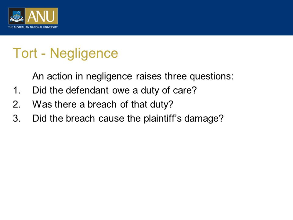 Tort - Negligence An action in negligence raises three questions: 1.Did the defendant owe a duty of care.