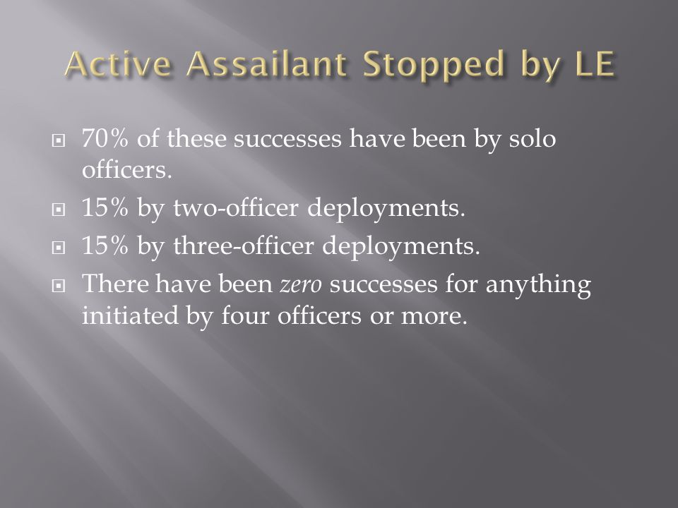  70% of these successes have been by solo officers.