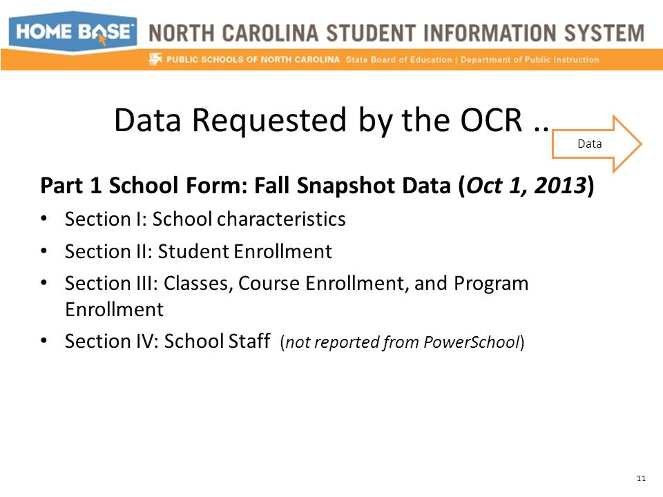 Data Requested by the OCR.. Part 1 School Form: Fall Snapshot Data (Oct 1, 2013) Section I: School characteristics Section II: Student Enrollment Sect