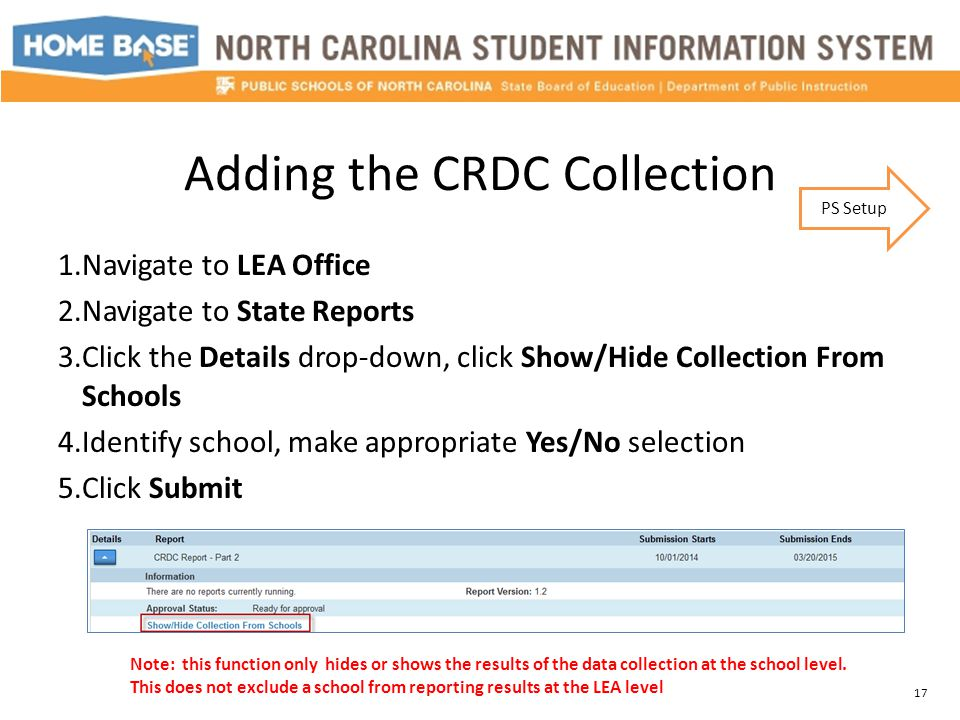 Adding the CRDC Collection 1.Navigate to LEA Office 2.Navigate to State Reports 3.Click the Details drop-down, click Show/Hide Collection From Schools