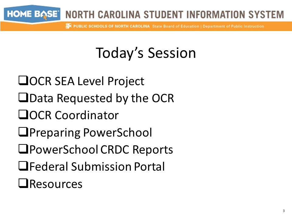 Today's Session  OCR SEA Level Project  Data Requested by the OCR  OCR Coordinator  Preparing PowerSchool  PowerSchool CRDC Reports  Federal Sub