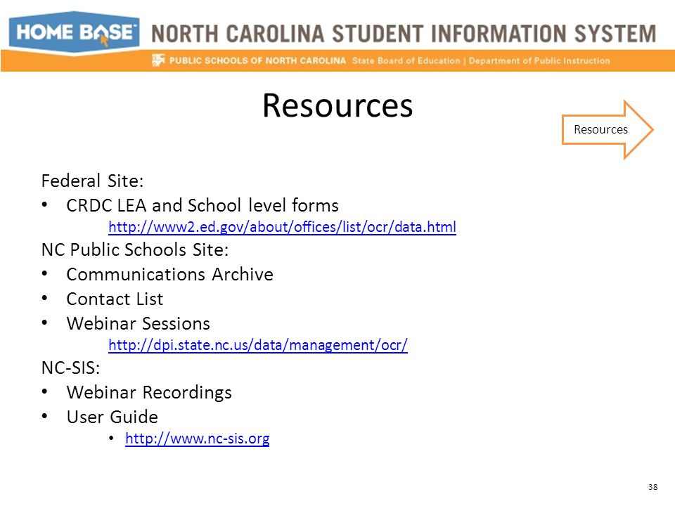 Resources Federal Site: CRDC LEA and School level forms http://www2.ed.gov/about/offices/list/ocr/data.html NC Public Schools Site: Communications Arc