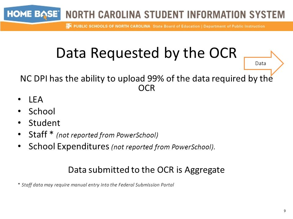 Data Requested by the OCR NC DPI has the ability to upload 99% of the data required by the OCR LEA School Student Staff * (not reported from PowerScho