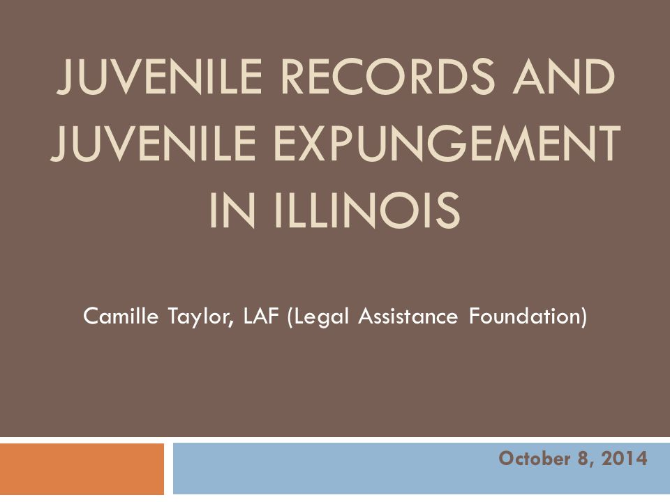 Agenda  Introduction  Definitions  Juvenile Records  Expungement  Impact of a Record  Expungement Eligibility  Expungement Process  LAF & CGLA's Juvenile Expungement Help Desk  Questions