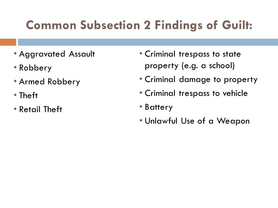 Common Subsection 2 Findings of Guilt: Aggravated Assault Robbery Armed Robbery Theft Retail Theft Criminal trespass to state property (e.g.