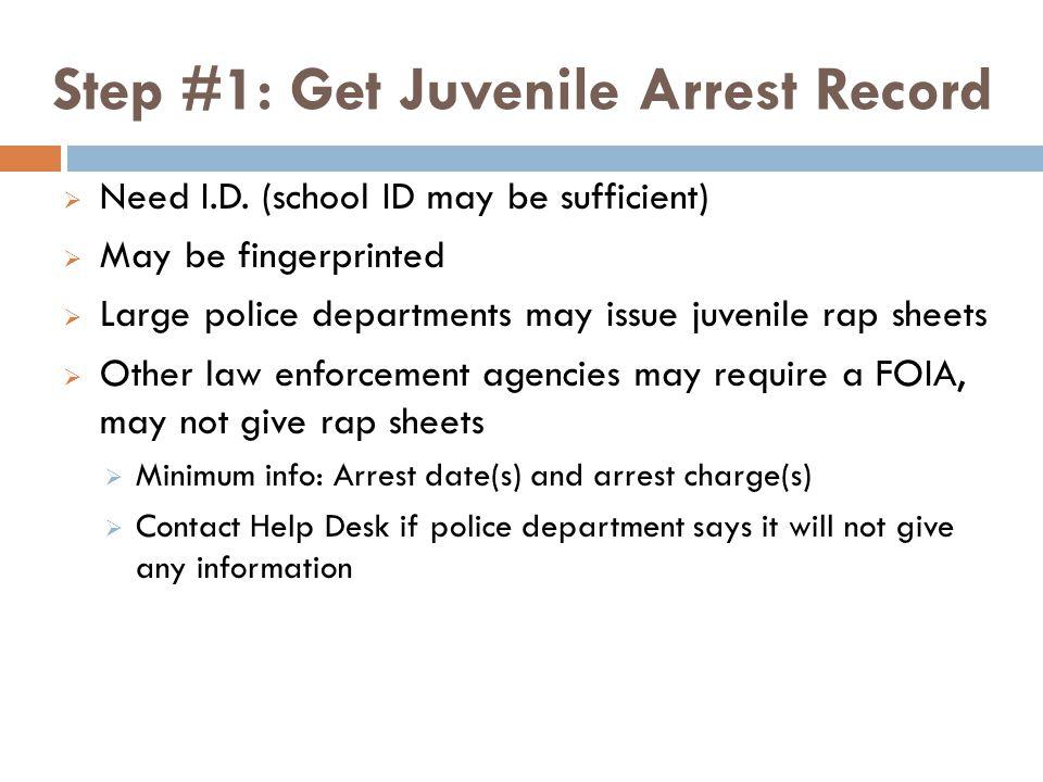 Step #1: Get Juvenile Arrest Record  Need I.D.