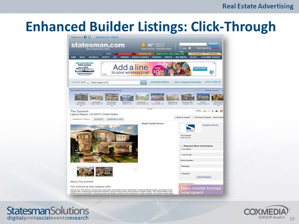 15 Enhanced Builder Listings: Click-Through Real Estate Advertising