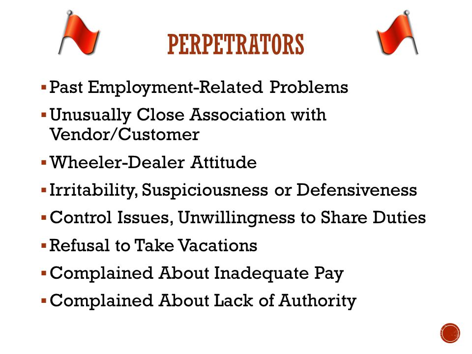  Past Employment-Related Problems  Unusually Close Association with Vendor/Customer  Wheeler-Dealer Attitude  Irritability, Suspiciousness or Defe