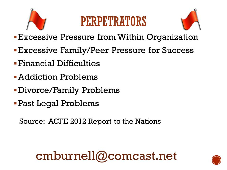  Excessive Pressure from Within Organization  Excessive Family/Peer Pressure for Success  Financial Difficulties  Addiction Problems  Divorce/Family Problems  Past Legal Problems cmburnell@comcast.net Source: ACFE 2012 Report to the Nations