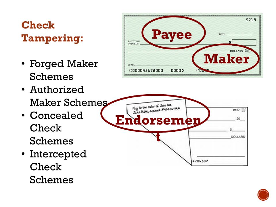 Payee Maker Endorsemen t Check Tampering: Forged Maker Schemes Authorized Maker Schemes Concealed Check Schemes Intercepted Check Schemes
