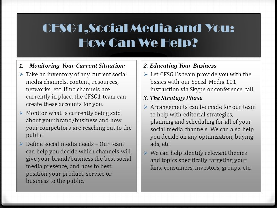 CFSG1,Social Media and You: How Can We Help.Continued… 4.