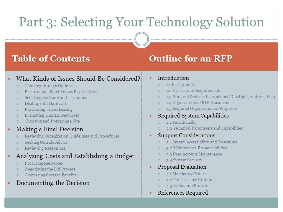 Table of Contents Outline for an RFP What Kinds of Issues Should Be Considered.