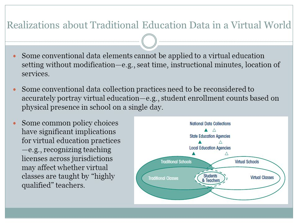 Realizations about Traditional Education Data in a Virtual World Some conventional data elements cannot be applied to a virtual education setting without modification—e.g., seat time, instructional minutes, location of services.