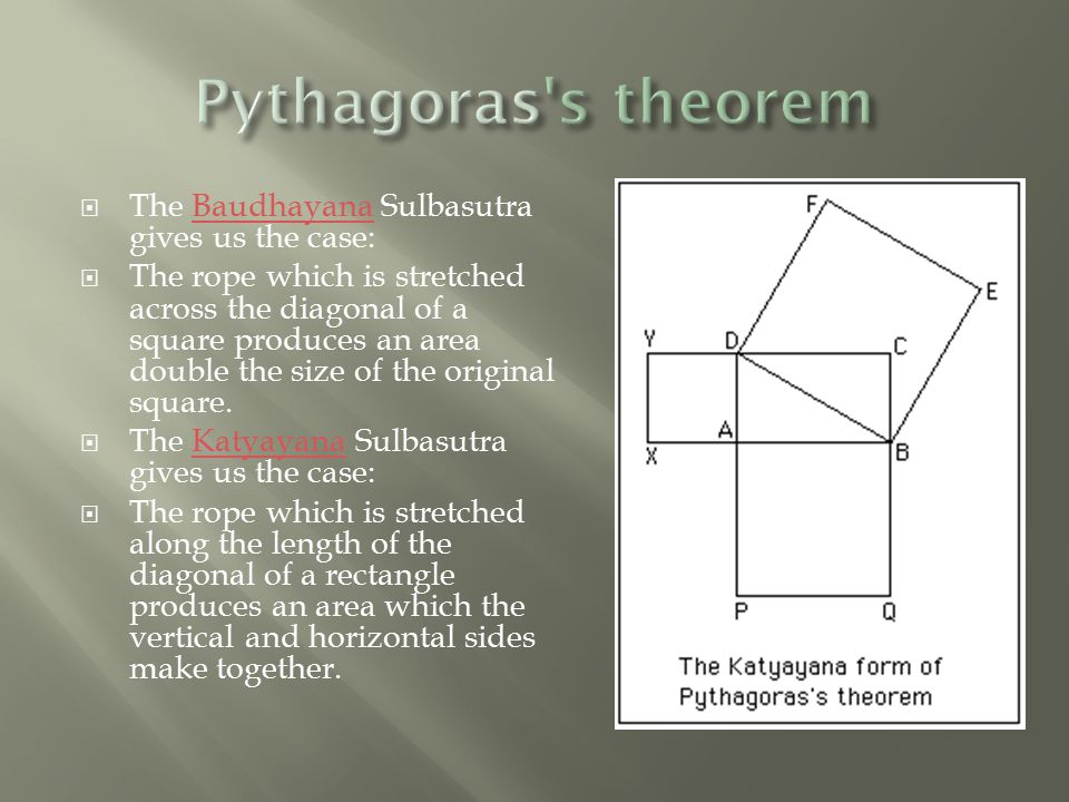  The Baudhayana Sulbasutra gives us the case:Baudhayana  The rope which is stretched across the diagonal of a square produces an area double the size of the original square.