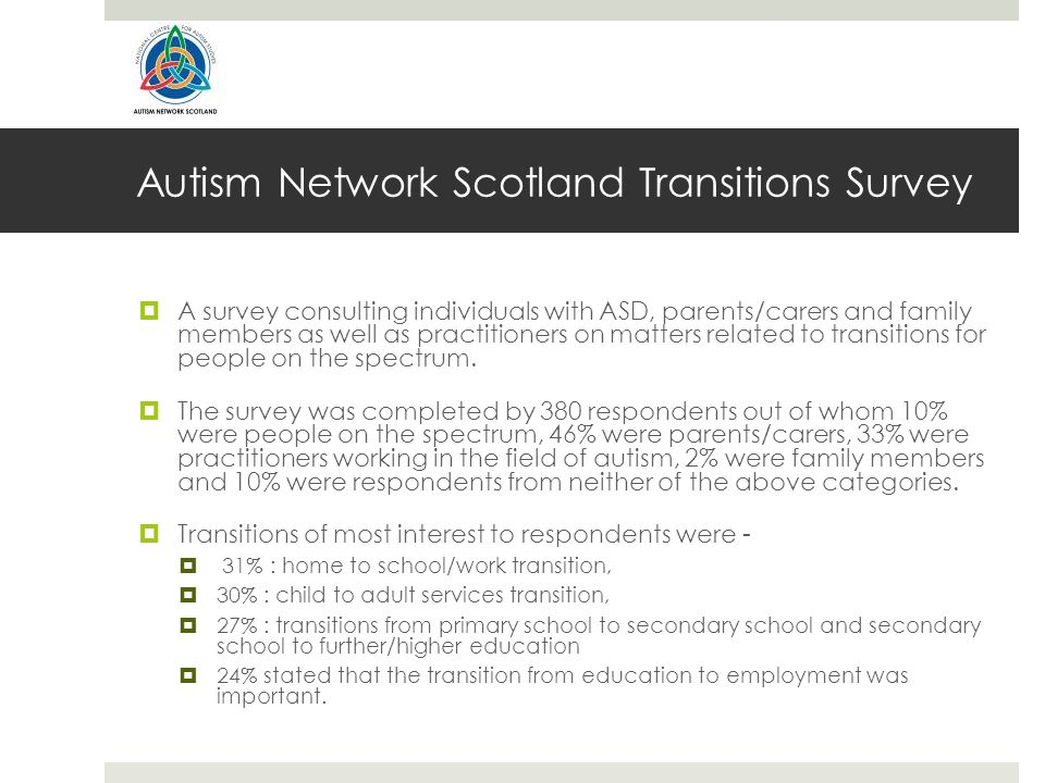 Autism Network Scotland Transitions Survey  A survey consulting individuals with ASD, parents/carers and family members as well as practitioners on matters related to transitions for people on the spectrum.