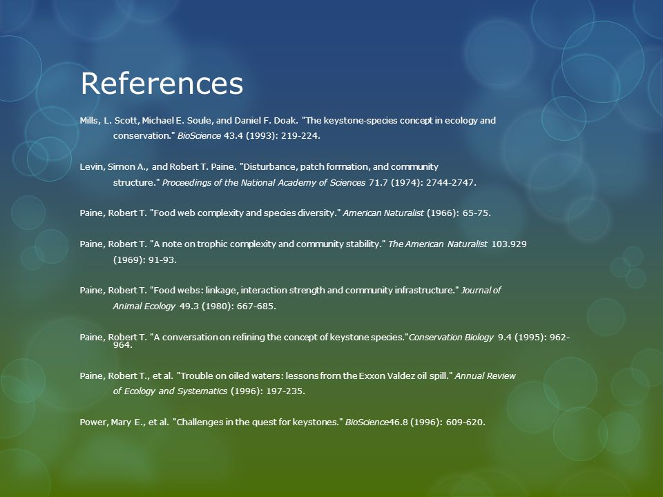 References Mills, L. Scott, Michael E. Soule, and Daniel F.