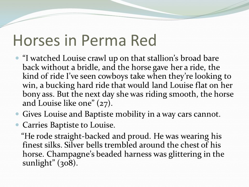 Horses in Perma Red I watched Louise crawl up on that stallion's broad bare back without a bridle, and the horse gave her a ride, the kind of ride I've seen cowboys take when they're looking to win, a bucking hard ride that would land Louise flat on her bony ass.