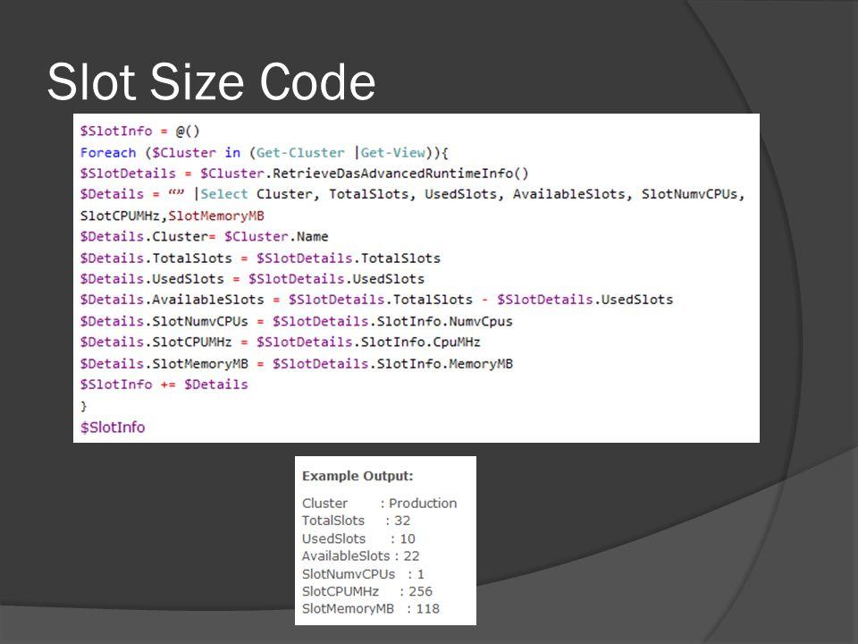 Slot Size Code