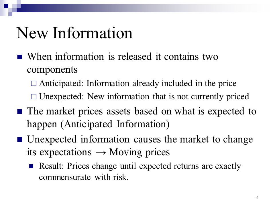 New Information When information is released it contains two components  Anticipated: Information already included in the price  Unexpected: New inf