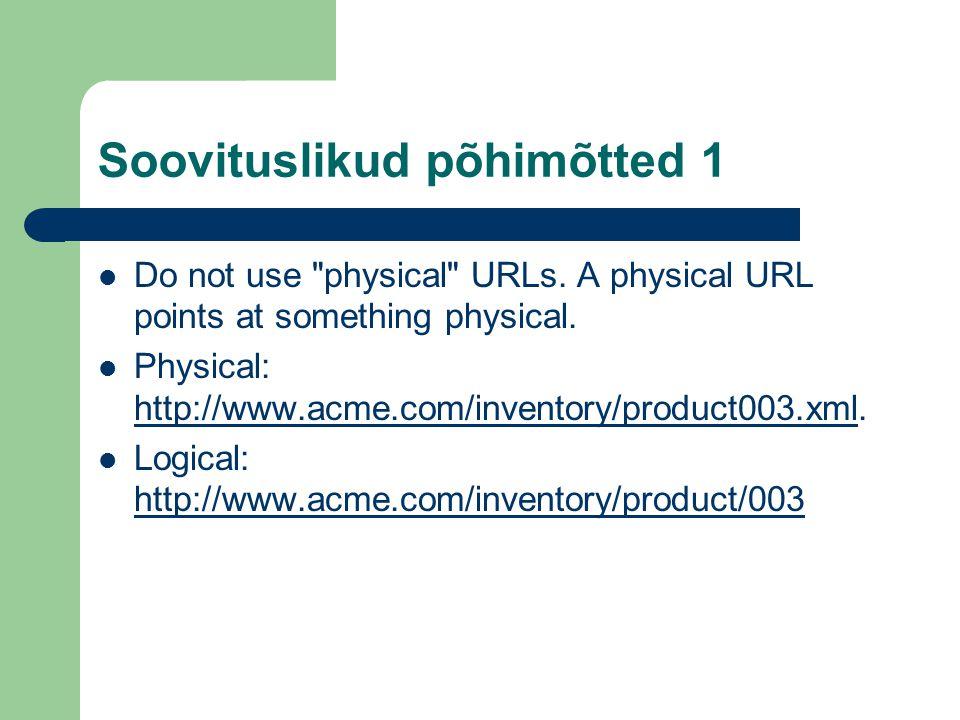 Soovituslikud põhimõtted 1 Do not use physical URLs.