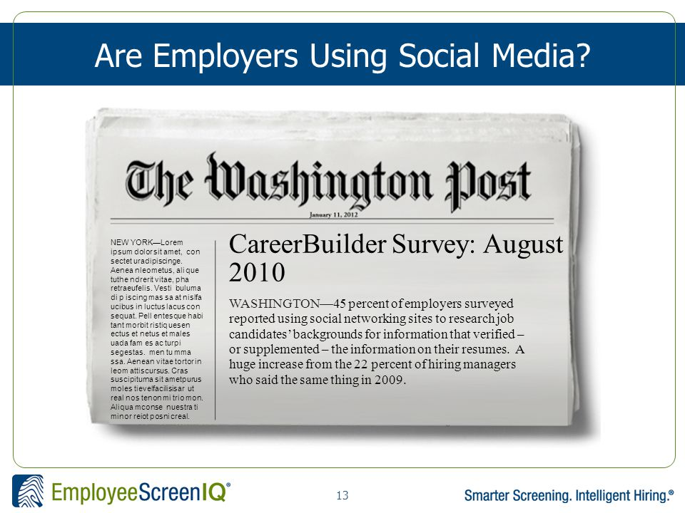 13 Are Employers Using Social Media.
