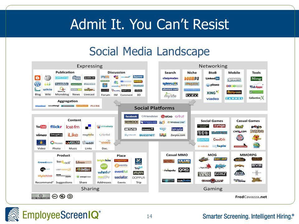 14 Admit It. You Can't Resist Social Media Landscape