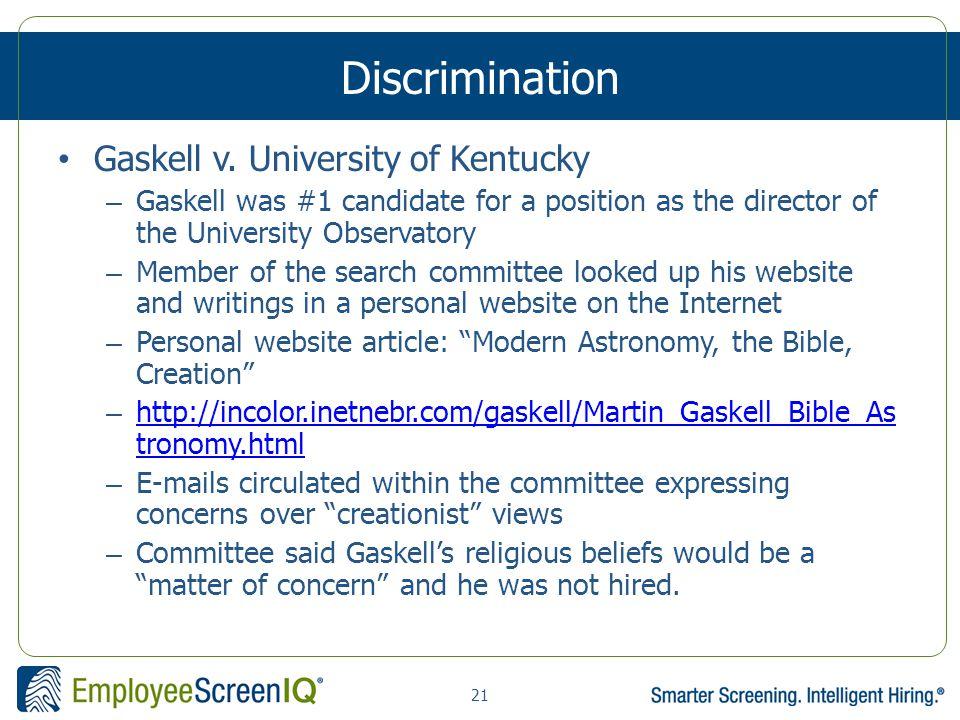 21 Discrimination Gaskell v.