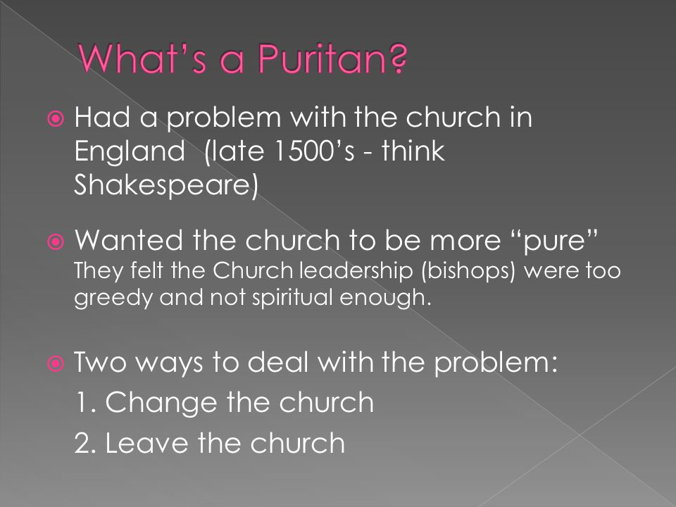  Had a problem with the church in England (late 1500's - think Shakespeare)  Wanted the church to be more pure They felt the Church leadership (bishops) were too greedy and not spiritual enough.