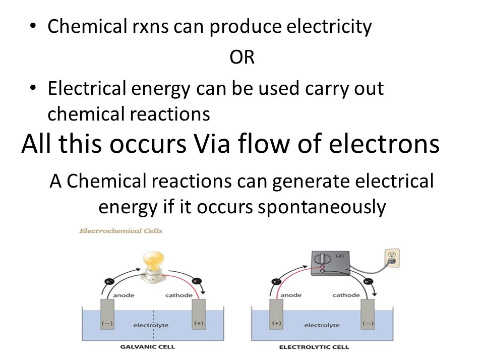 All this occurs Via flow of electrons Chemical rxns can produce electricity OR Electrical energy can be used carry out chemical reactions A Chemical reactions can generate electrical energy if it occurs spontaneously