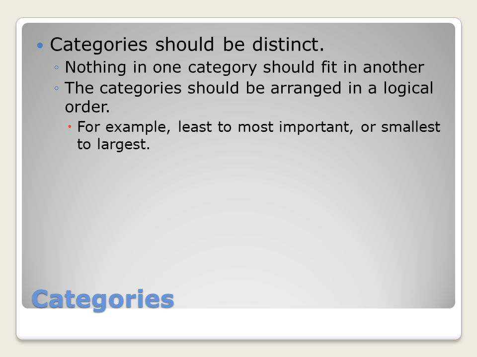 Categories Categories should be distinct.