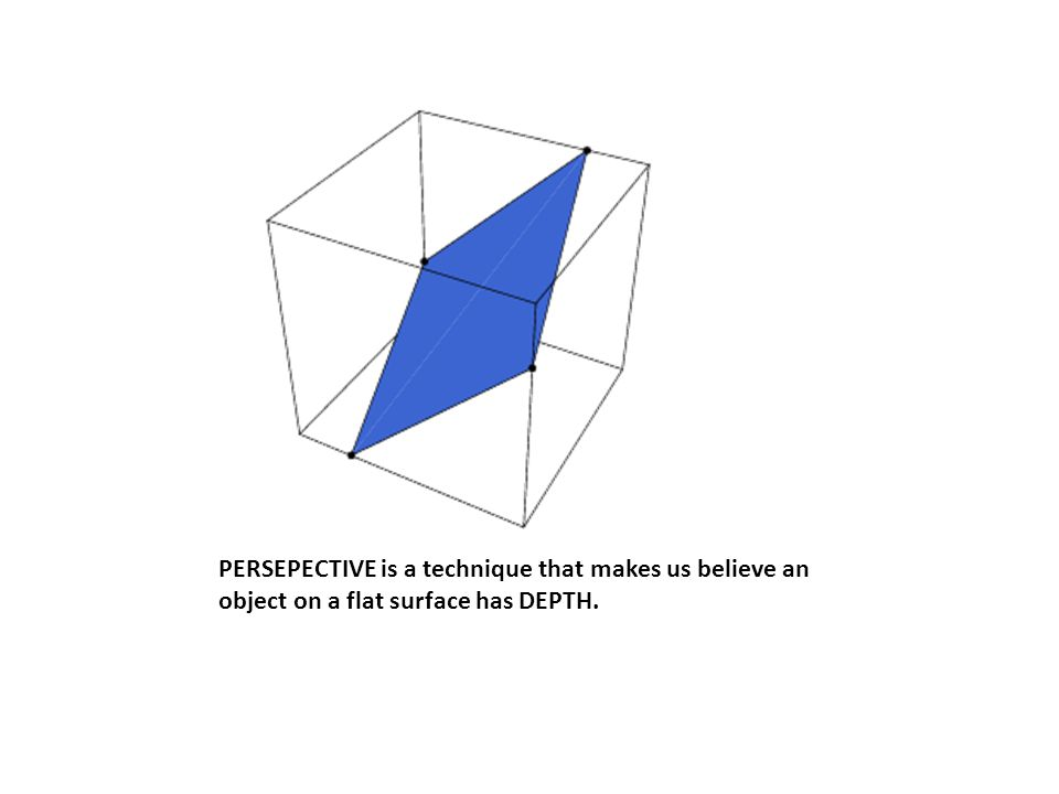 PERSEPECTIVE is a technique that makes us believe an object on a flat surface has DEPTH.