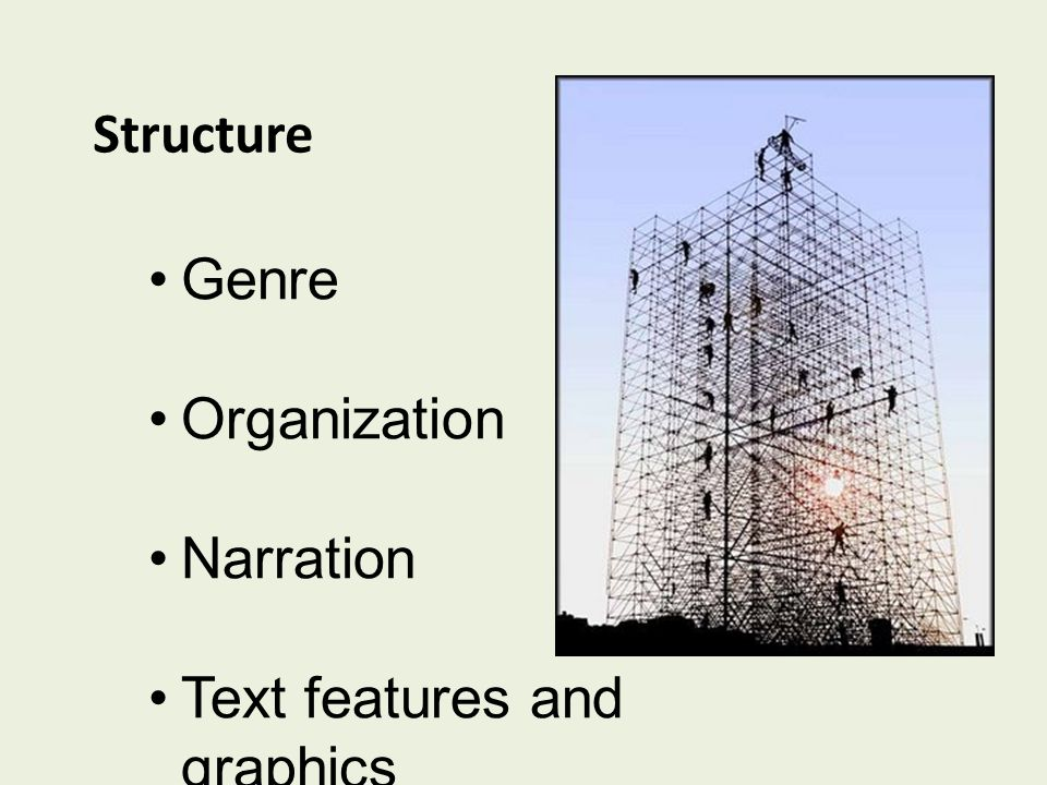 Structure Genre Organization Narration Text features and graphics