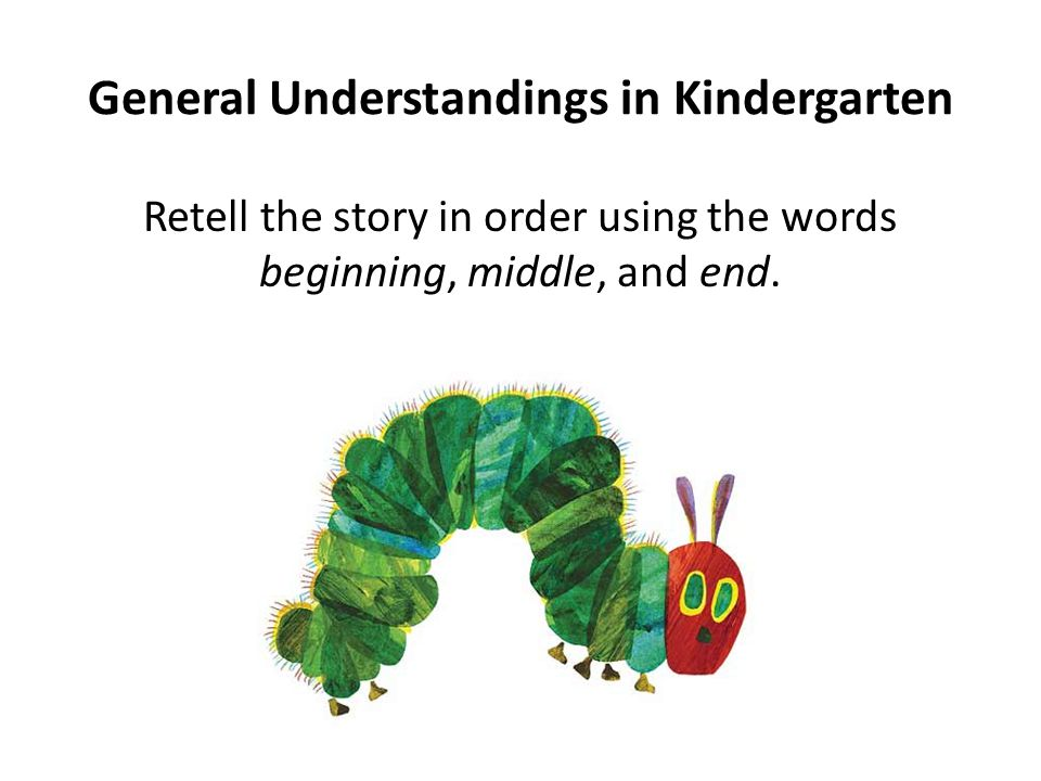 General Understandings in Kindergarten Retell the story in order using the words beginning, middle, and end.