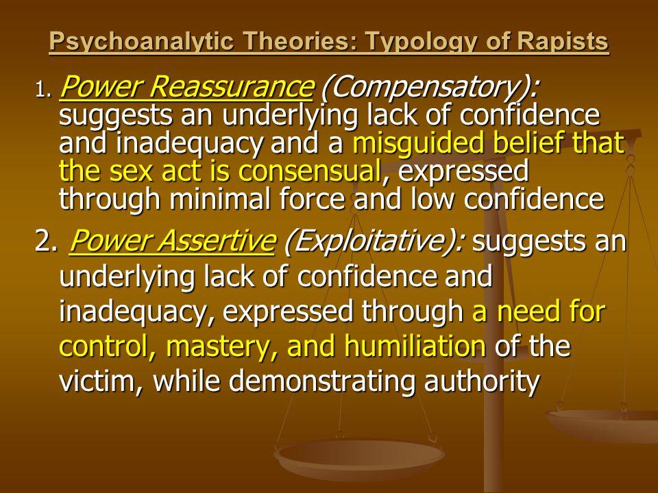 Psychoanalytic Theories: Typology of Rapists 1.