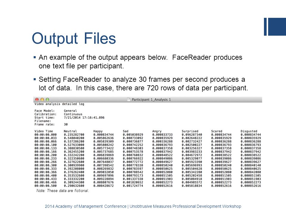 Output Files  An example of the output appears below.