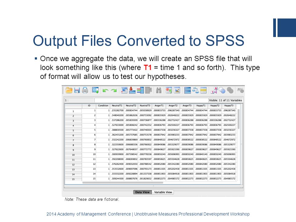 Output Files Converted to SPSS  Once we aggregate the data, we will create an SPSS file that will look something like this (where T1 = time 1 and so forth).