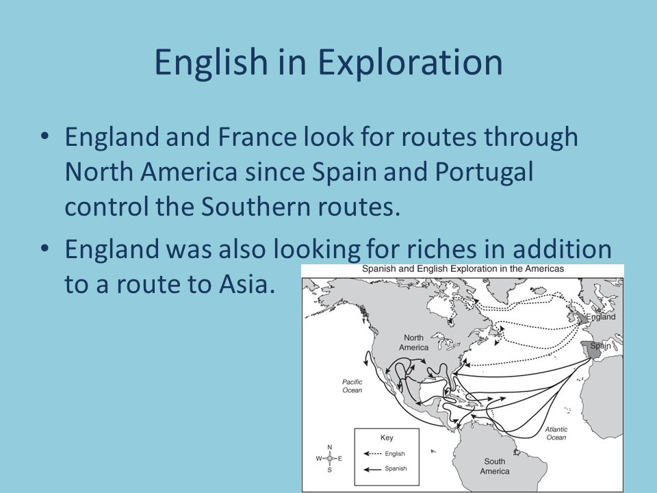 English in Exploration England and France look for routes through North America since Spain and Portugal control the Southern routes.