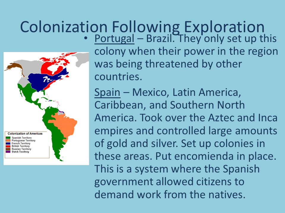 Colonization Following Exploration Portugal – Brazil.