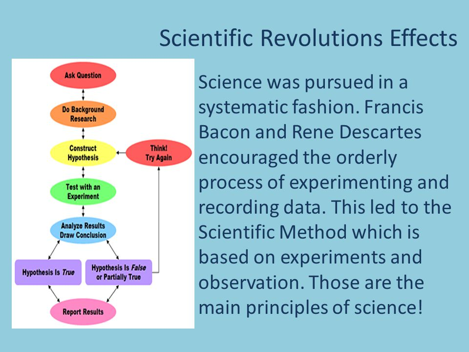 Scientific Revolutions Effects Science was pursued in a systematic fashion.