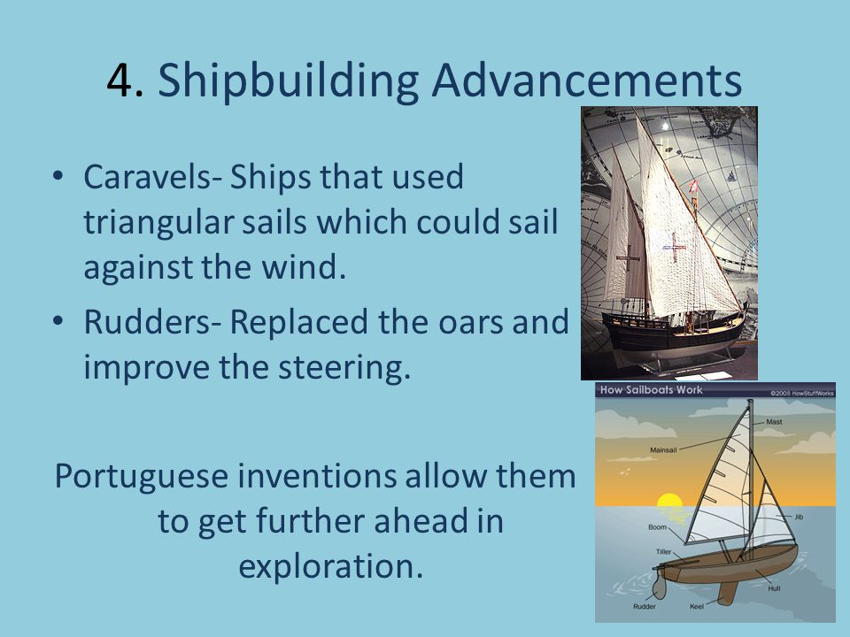 4. Shipbuilding Advancements Caravels- Ships that used triangular sails which could sail against the wind. Rudders- Replaced the oars and improve the