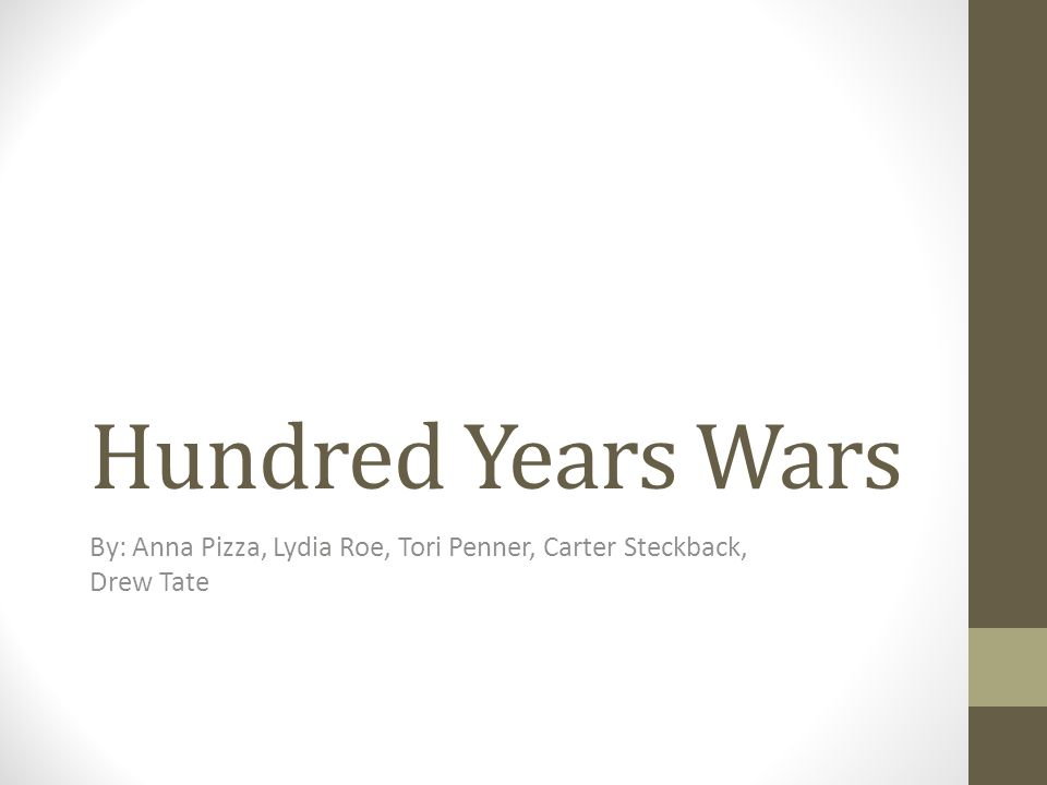 Hundred Years Wars By: Anna Pizza, Lydia Roe, Tori Penner, Carter Steckback, Drew Tate