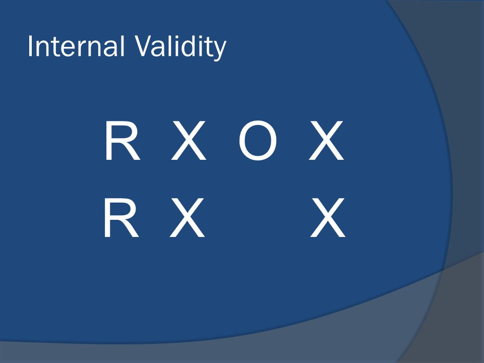 Internal Validity R X O X R X X