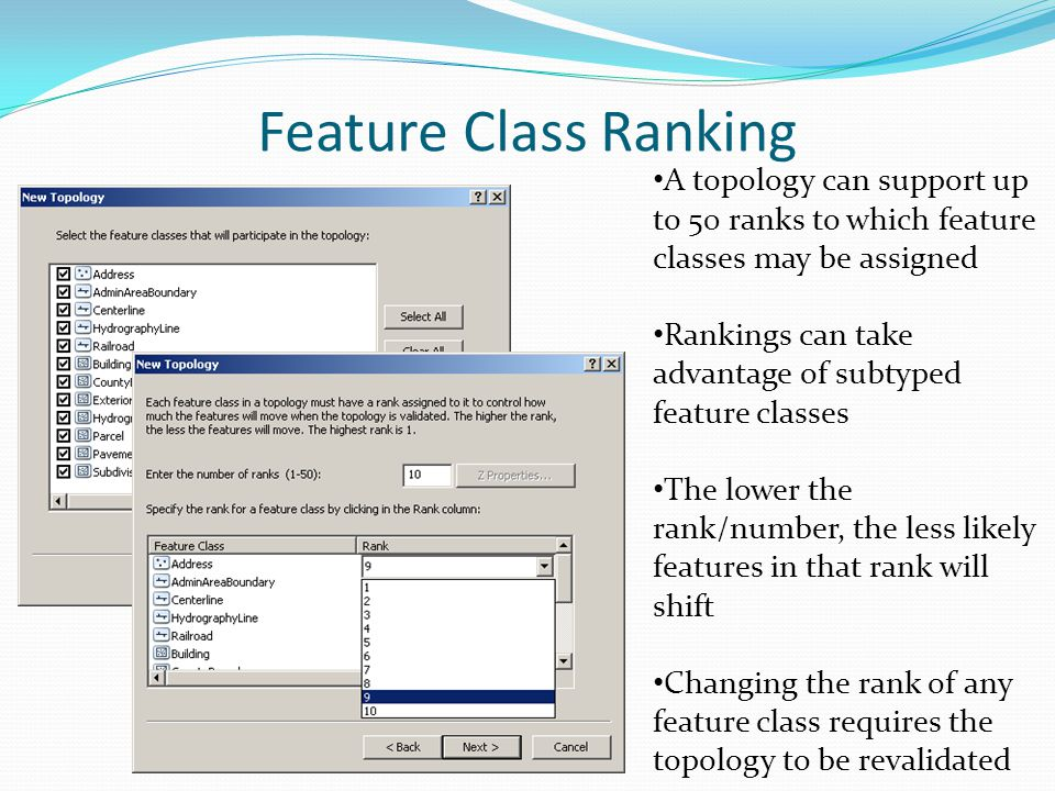 Feature Class Ranking A topology can support up to 50 ranks to which feature classes may be assigned Rankings can take advantage of subtyped feature c