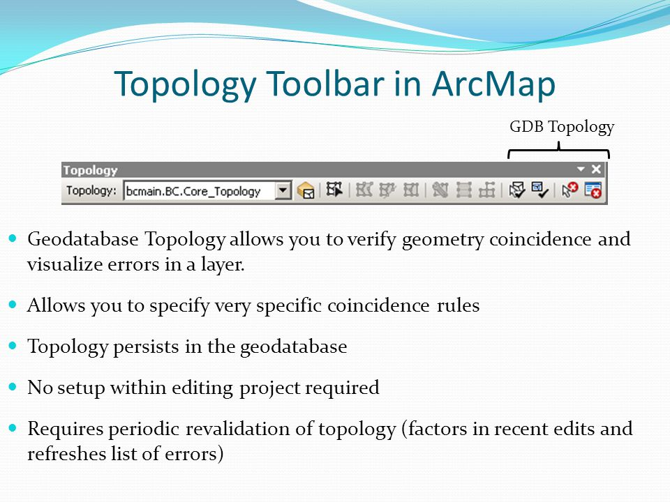 Topology Toolbar in ArcMap GDB Topology Geodatabase Topology allows you to verify geometry coincidence and visualize errors in a layer. Allows you to