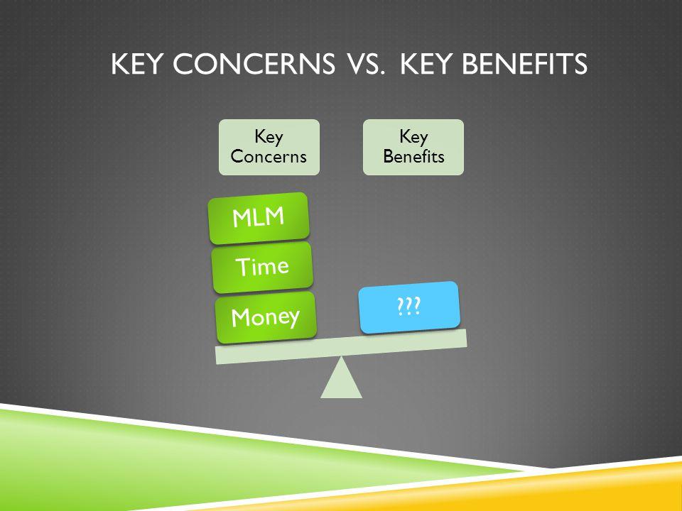 KEY CONCERNS VS. KEY BENEFITS Key Concerns Key Benefits MoneyTimeMLM???