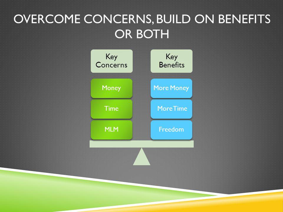 OVERCOME CONCERNS, BUILD ON BENEFITS OR BOTH Key Concerns Key Benefits Freedom More TimeMore MoneyMLMTimeMoney