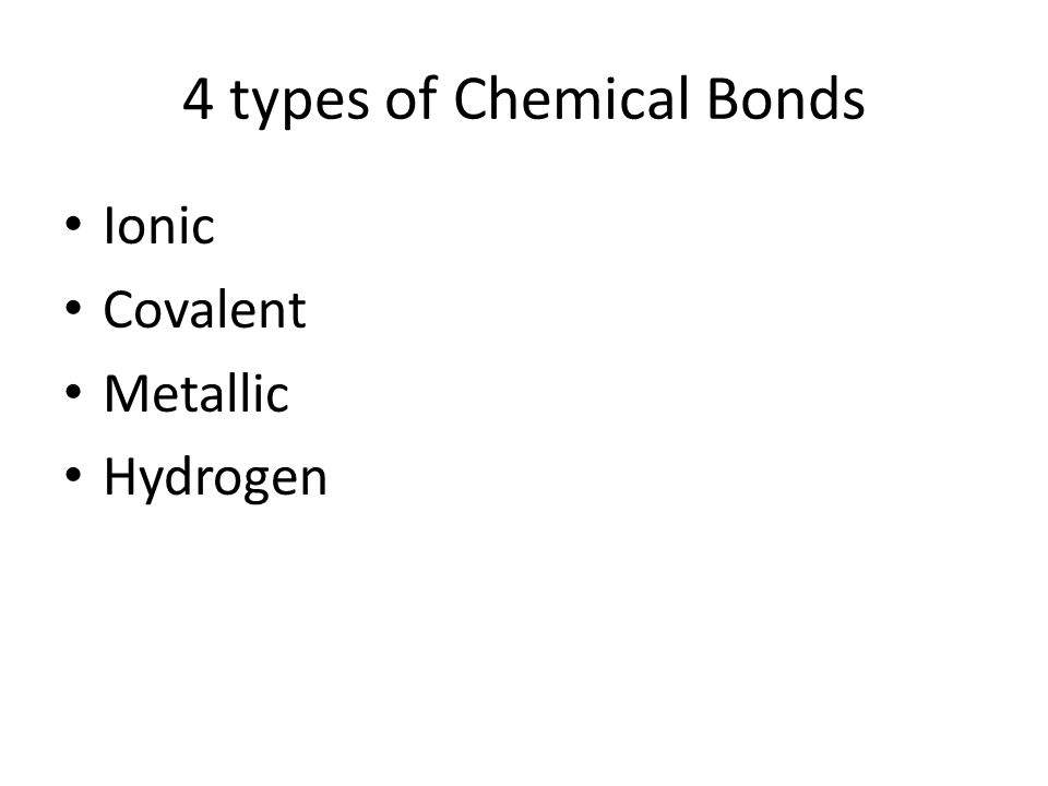 4 types of Chemical Bonds Ionic Covalent Metallic Hydrogen