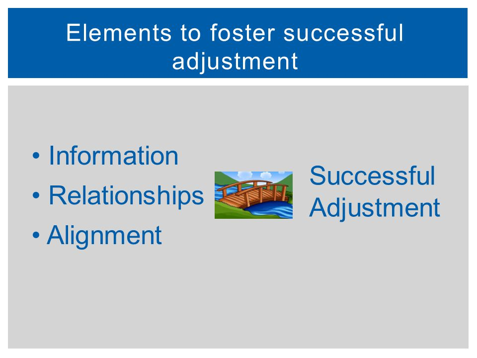 It's a process, not a program Supportive relationships are resources for children Different sets of relationships fit different needs – some are supportive, some informational Connections serve as a bridge for child, family, and school across time and contexts Successful Transition: Guiding Principles