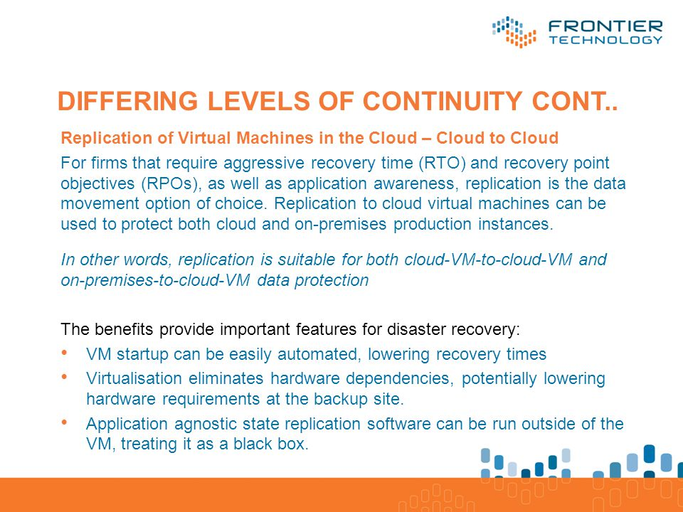 Application/Software Database/Processes/ Platform Servers, Storage, Network/Infrastructure DIFFERING LEVELS OF CONTINUITY CONT..