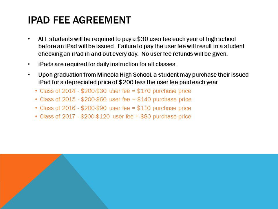 IPAD FEE AGREEMENT ALL students will be required to pay a $30 user fee each year of high school before an iPad will be issued.